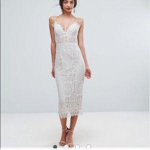 Asos Cream Colored Strap Lace Dress Sz 6